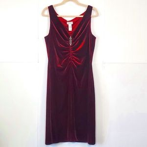 Liz Claiborne Red Velour V-Neck Ruched Dress Sz 14